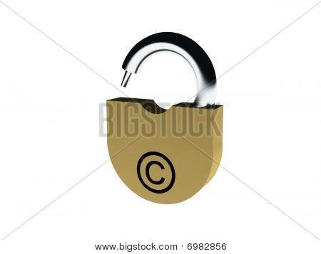 Padlock With Copyright Sign