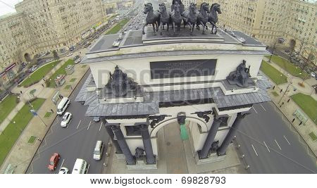 MOSCOW, RUSSIA - NOVEMBER 22, 2013: Arch of Triumph, constructed in Moscow to commemorate the victory of the Russian people in the Patriotic War of 1812, aerial view