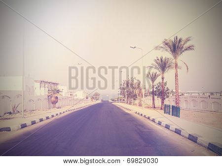 Vintage Picture Of A Street With Palms In Sharm El Sheikh, Egypt.