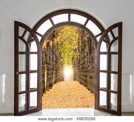Open Door With A View Of Green Meadow Illuminated By Bright Sunshine