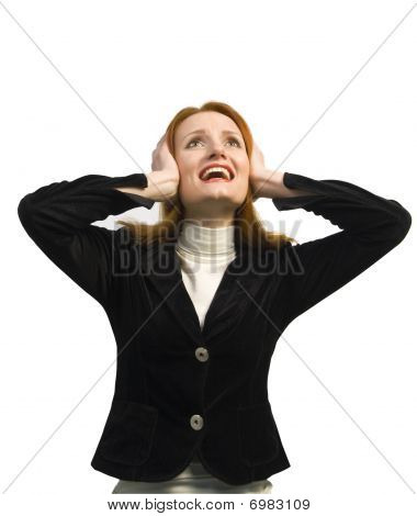 Beautiful Business Woman Closing The Ears With Hands. No Sound