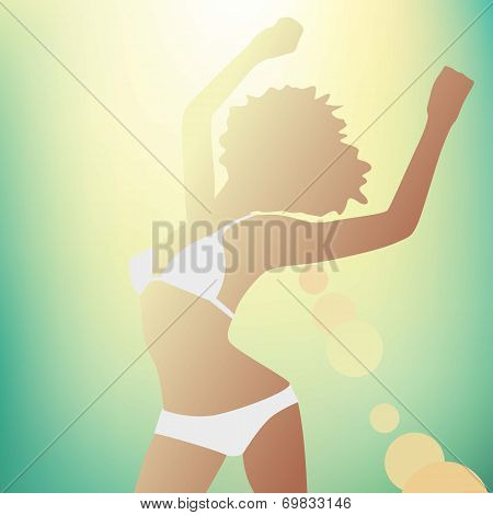 airy beach, beauty dawn girl light flooded man sunny tan joy space rays vector drawing travel woman