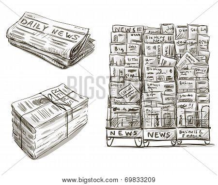 Press. Newspaper stand. Newsstand. Vector illustration. Hand drawn.