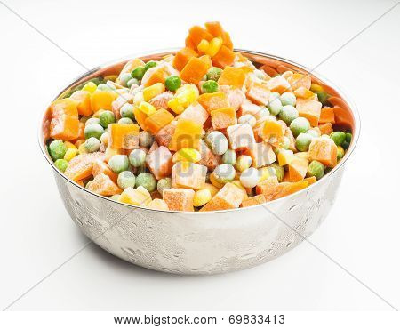 Frozen Vegetables In Steel Bowl
