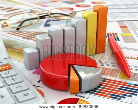 Business concept. Calculator, pen, glasses, graph and charts. 3d