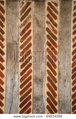 18Th Century Brick And Wood Wall Background