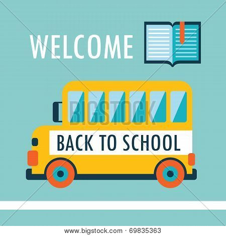 Welcome Back To School Background Flat Design Template With Book And Schoolbus