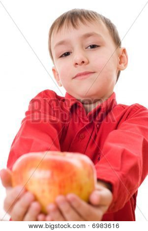 Boy In A Red Shirt Eating Grapes