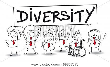 diversity. Different ethnic people are in the office. diversity is essential for the development of your company.