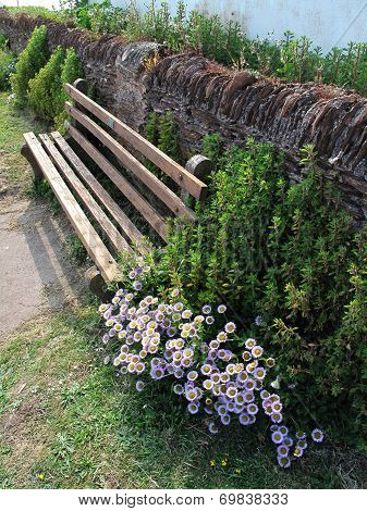Bench With Wall And Flowers