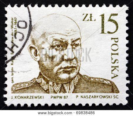 Postage Stamp Poland 1987 General Karol Swierczewski Walter