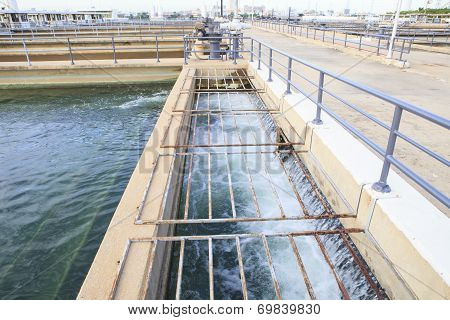 Pure And Clean Water Flowing In Waterworks Industry Estate