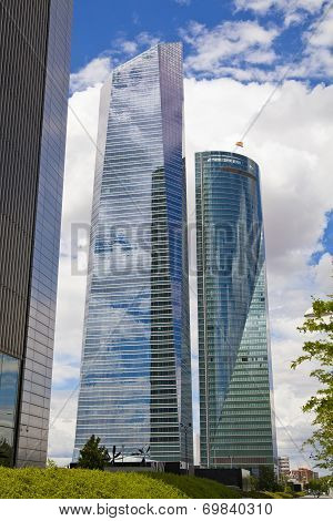 MADRID, SPAIN - JULY 1, 2014: Madrid city business centre, modern skyscrapers