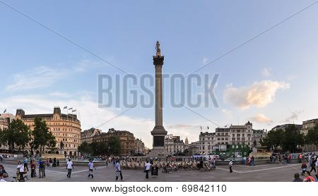 Tourists Visit Trafalgar Square In London