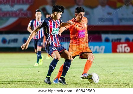 Sisaket Thailand-august 3: Gorka Unda Of Sisaket Fc. (orange) In Action During Thai Premier League B