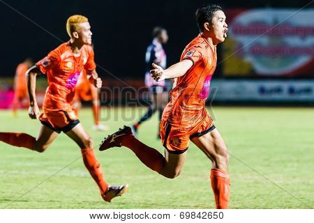 Sisaket Thailand-august 3: Sarayuth Chaikamdee Of Sisaket Fc. In Action During Thai Premier League B