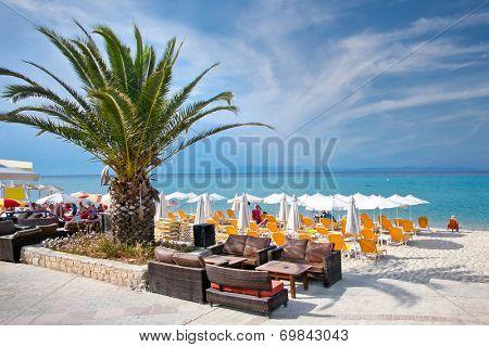 Beautiful Polychrono beach on Kasandra peninsula, Halkidiki,  Greece.