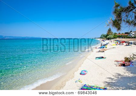 Beautiful Hanioti beach on Kasandra peninsula, Halkidiki,  Greece.