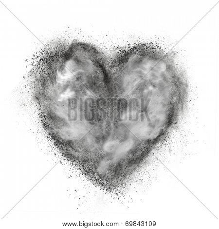 heart made of black powder explosion isolated on white background