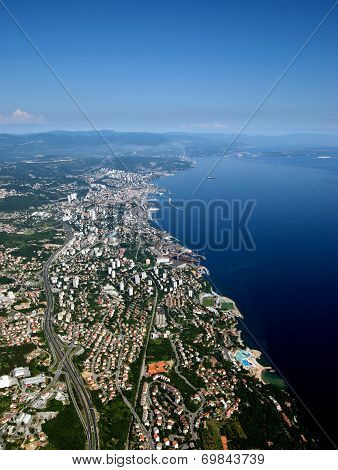 Bird Eye View Of Rijeka And Adriatic Sea,croatia