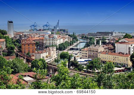 Panoramic View Of Rijeka And River Rjecina Sea Estuary