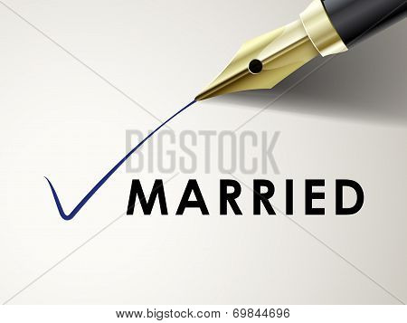 The Word Married On Paper With Fountain Pen