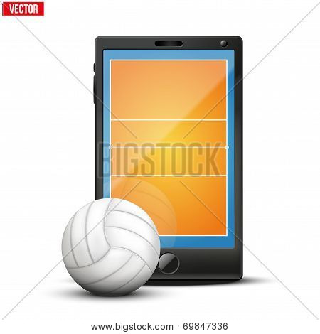 Smartphone with volleyball ball and field on the screen.
