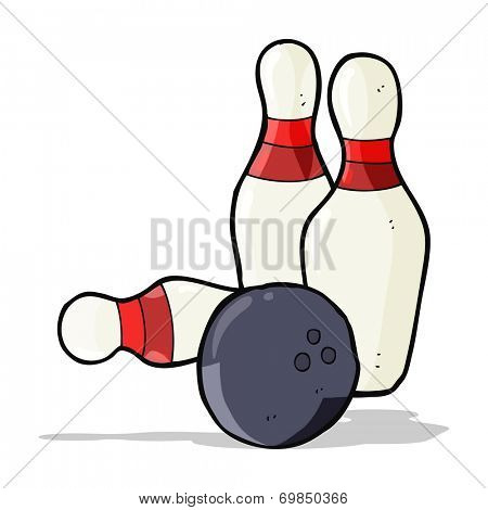 ten pin bowling cartoon