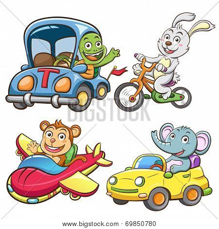 funny vehicle and animal set
