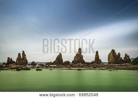 Hashi-gui-iwa Boulders on the coast of Kushimoto, Wakayama Prefecture, Japan.