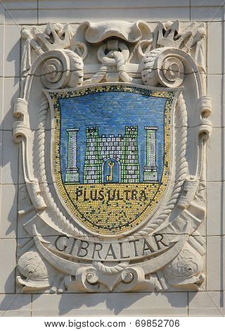Mosaic shield of renowned port city Gibraltar at the facade of United States Lines