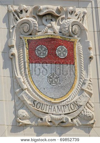 Mosaic shield of renowned port city South Hampton at the facade of United States Lines
