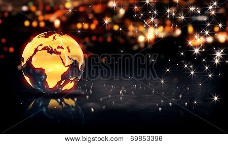 Globe Glass Crystal Gold City Light Shine Bokeh 3D Background