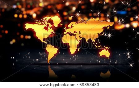 World Map Gold City Light Shine Bokeh 3D Background