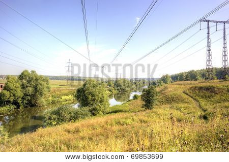 River Pakhra And Power Line