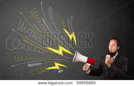 Leader guy shouting into megaphone with hand drawn lines and arrows on grungy background