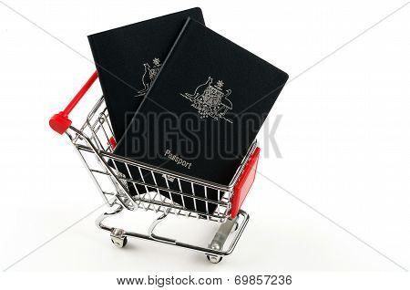 shopping cart and passports