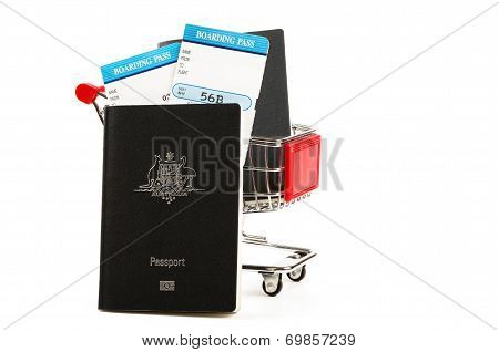 shopping cart and travel passports