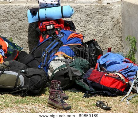 Backpacks Bags And Boots Piled Up After The Long Walk Of The Boyscout 2