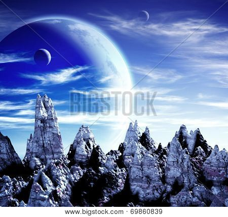 A beautiful space scene with planets and mountains