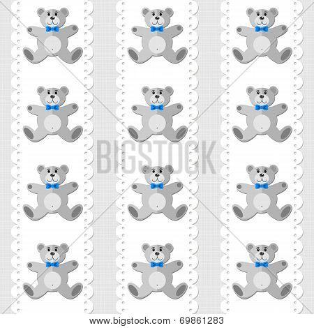 Baby boy toy animal elegant teddy bear on white doily vertical ribbon seamless pattern on light