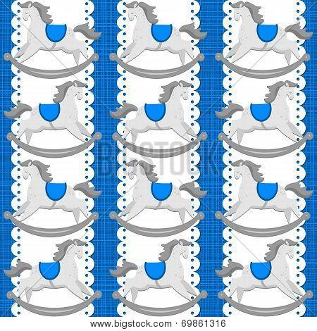 Baby boy toy animal rocking horse on white doily vertical ribbon seamless pattern on blue