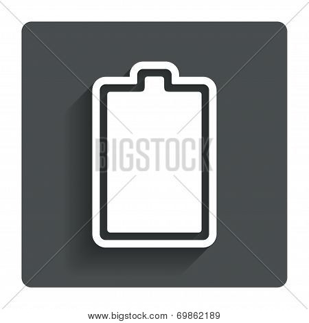 Battery fully charged sign icon. Electricity.