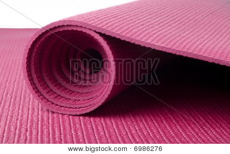 Pink Yoga Mat on White
