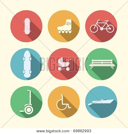 Flat vector icons for active leisure in the park
