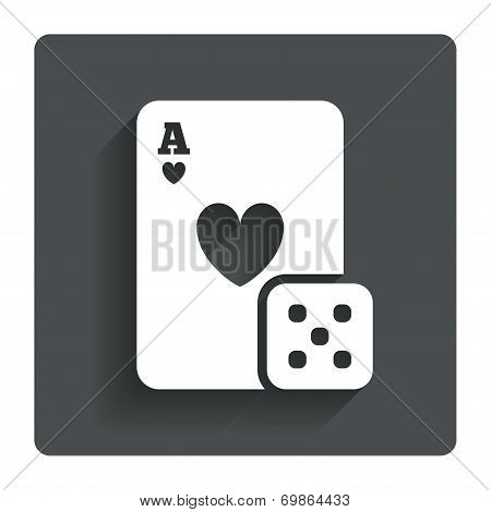 Casino sign icon. Playing card with dice symbol