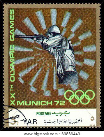 Vintage  Postage Stamp. Skeet Shooting.