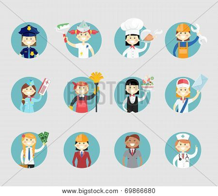 Professional women avatar set