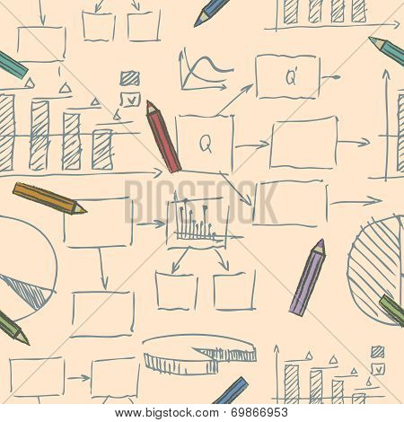 Business doodle sketch seamless pattern