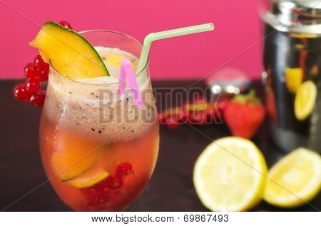 Fruit Cocktail Deatil With Skaer And Fruit